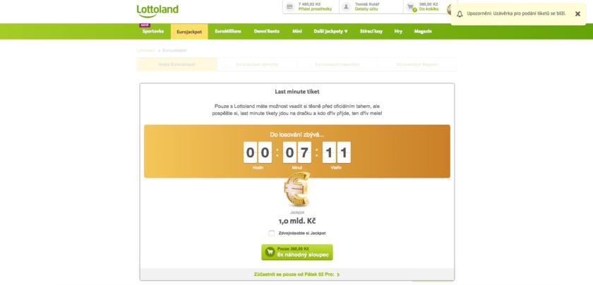 U Lottolandu lze vsadit i pár minut před zahájením slosování