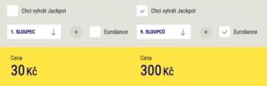 Cena za jeden sloupec vs. cena za plný tiket Euromiliony vč. Eurošance