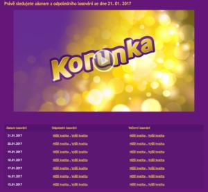 Losování Korunky lze sledovat na webu loterie online