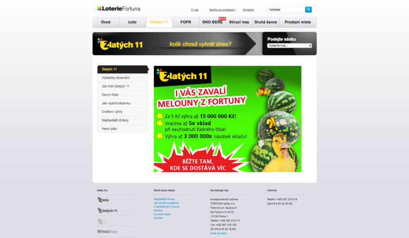 Webová stránka loterie