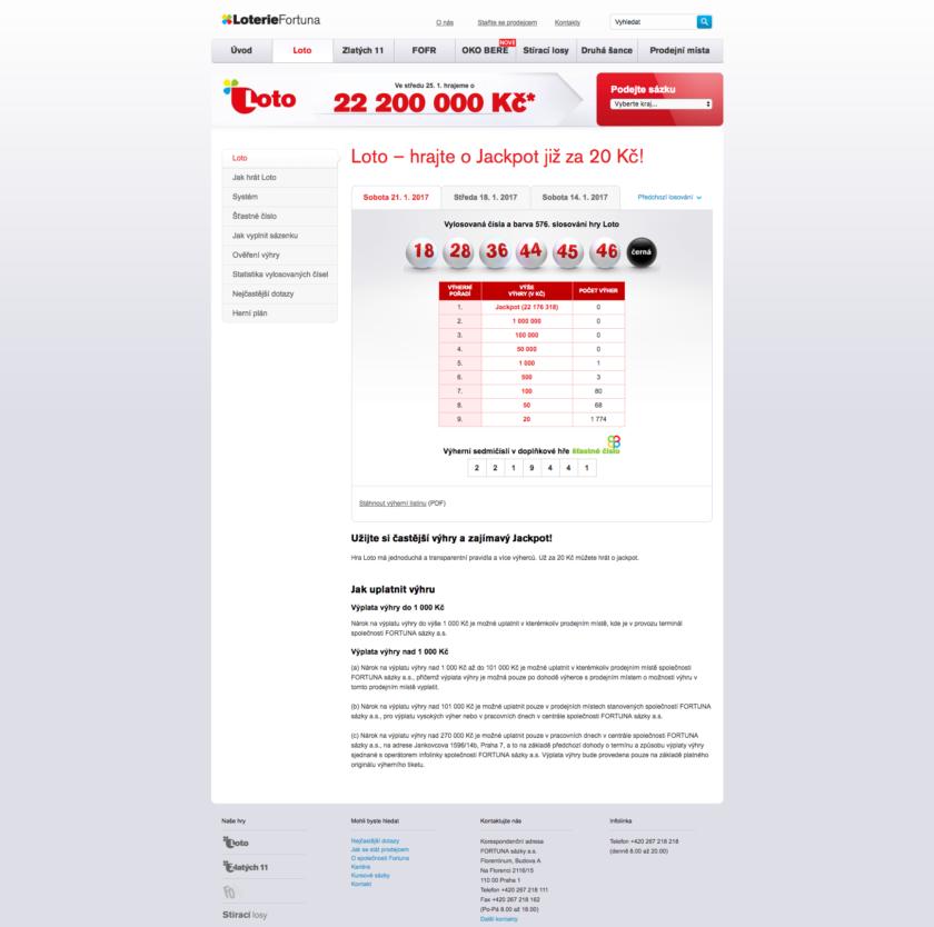 Webová stránka loterie LOTO