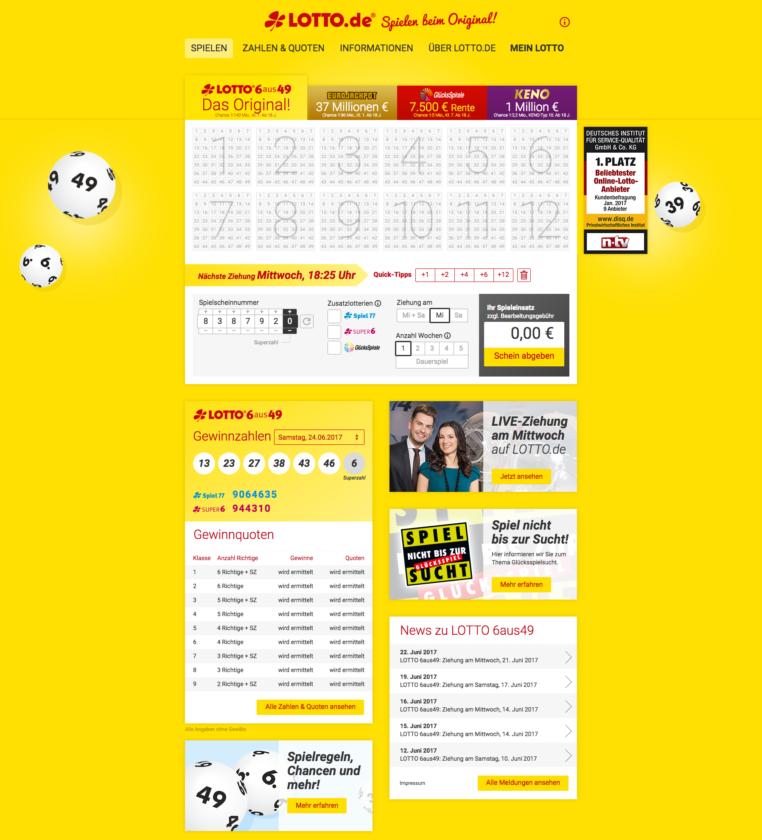 Webová stránka německé LOTTO 6aus49