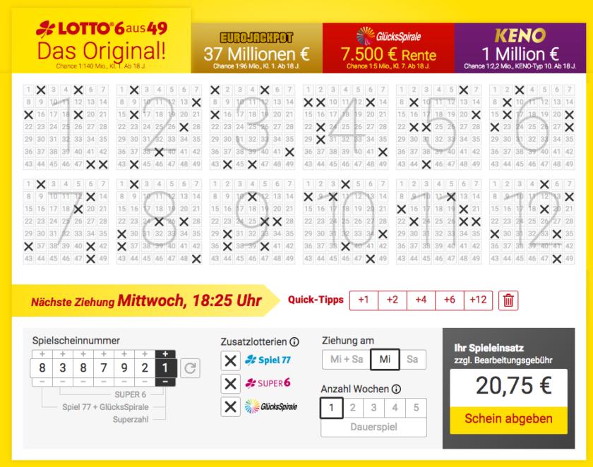 Za plný tiket včetně doplňkových her dáte v 6aus49 téměř 21 EUR